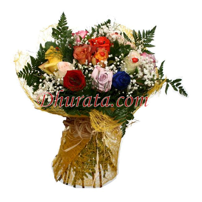 Bouquet with 12 multicolored roses