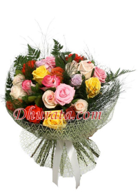 Bouquet with 24 multicolored roses