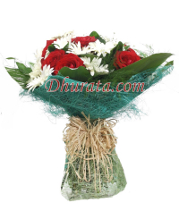 Bouquet with roses and gerbes