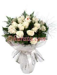 Bouquet with 24 white roses