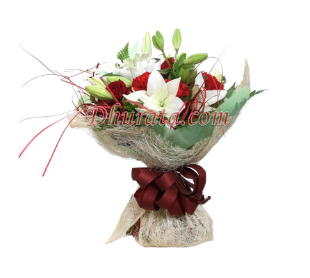 Bouquet of Gerbera, Roses, Carnations and Lilies