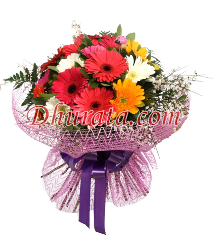 Bouquet of 15 Gerbera of different colors