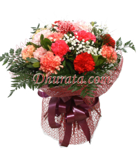 Bouquet of 15 colorful carnations