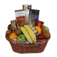 Fruits and chocolate basket