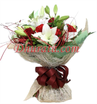 Mixed Bouquet with Gerberas, Roses, Carnations and Lilies