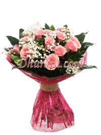 Bouquet with 15 Pink Roses.