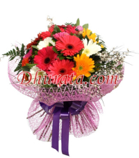 Bouquet with 15 Multicolored Gerberas