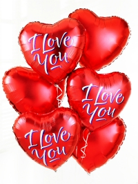 6 red  heart shaped balloons