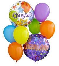 6 different colors balloons and 2 balloons congratulation