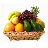 Basket with fruits of the season