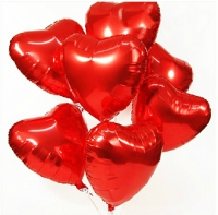 7 red heart shaped balloons